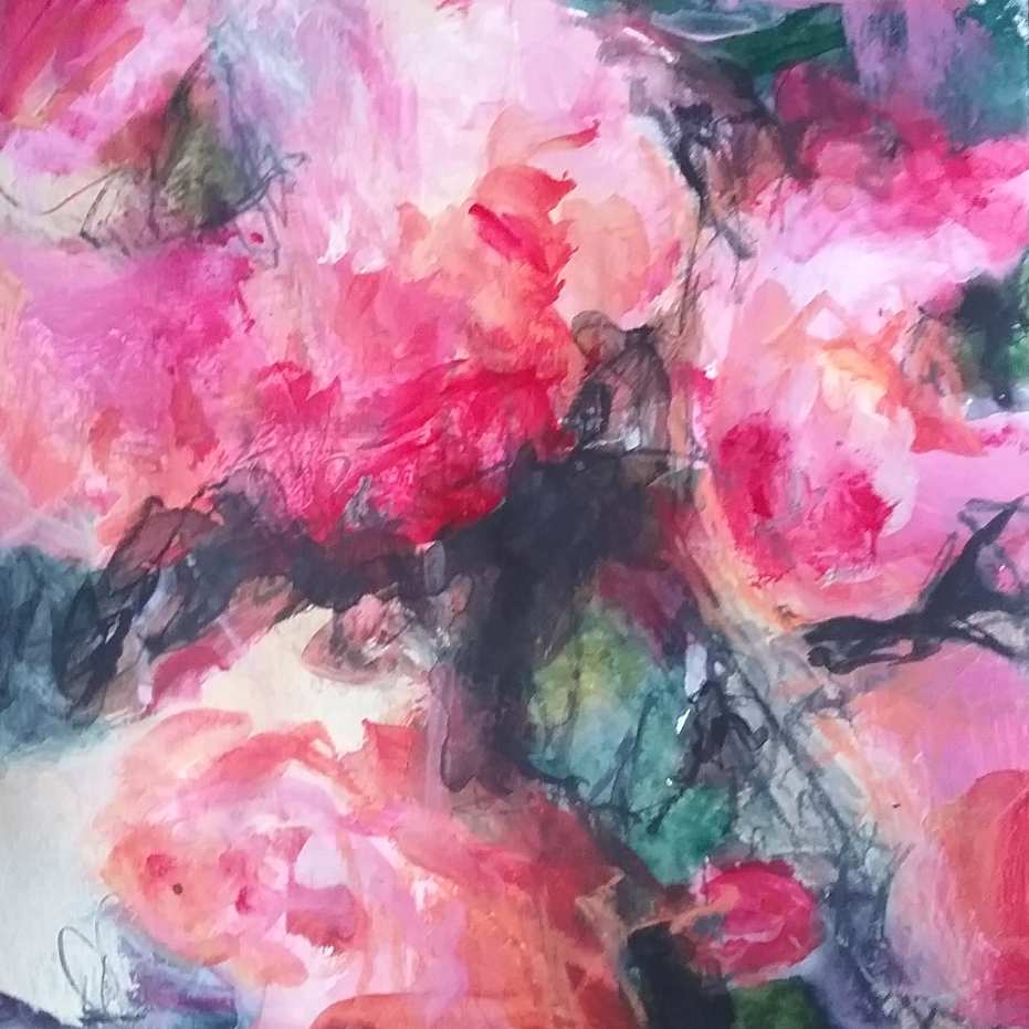 Pink floral abstract painting by Beverley Anderson